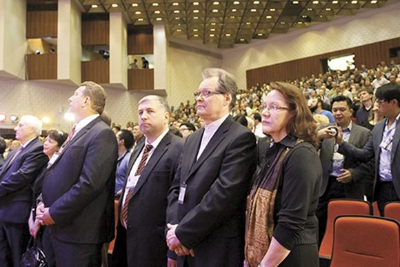 "A leadership conference of 1,000 pastors in Moscow in May 2014. The pastors were deeply concerned about the worsening situation regarding religous freedom in Russia. Recently, 74 pastors were tried under the law on ""terrorism."" In the photo: Laura and Hannu Haukka beside Bishops Vasily Yevtsik and Alexey Rudenki."