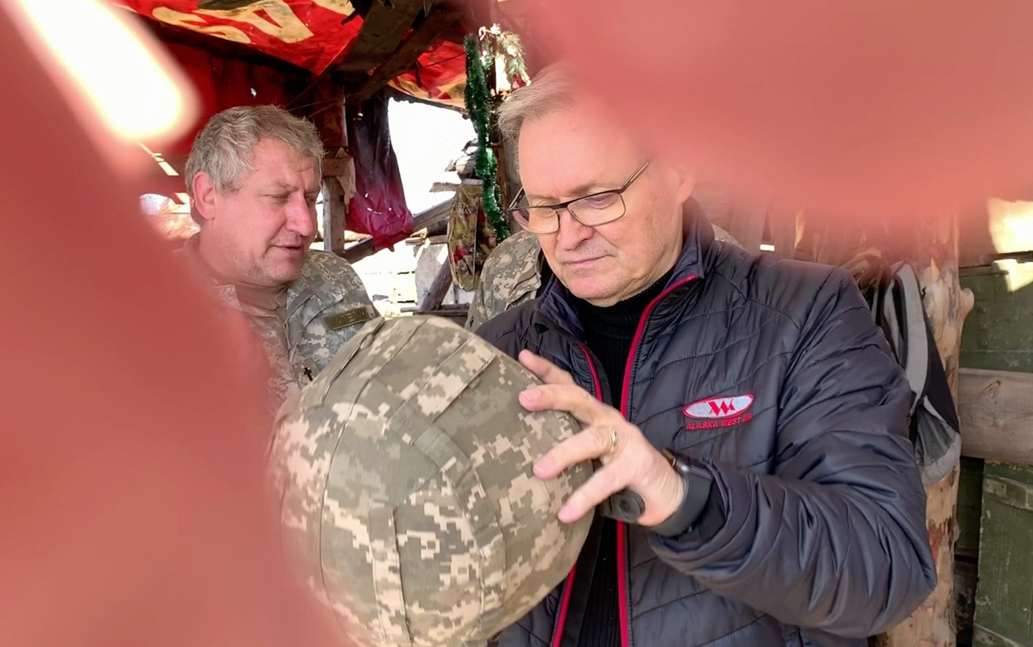 Hannu Haukka visits Ukrainian soldiers located in a forward positon within 2 hundred meters of the Russian backed rebel forces. The area is restricted and closed to the civilian population.